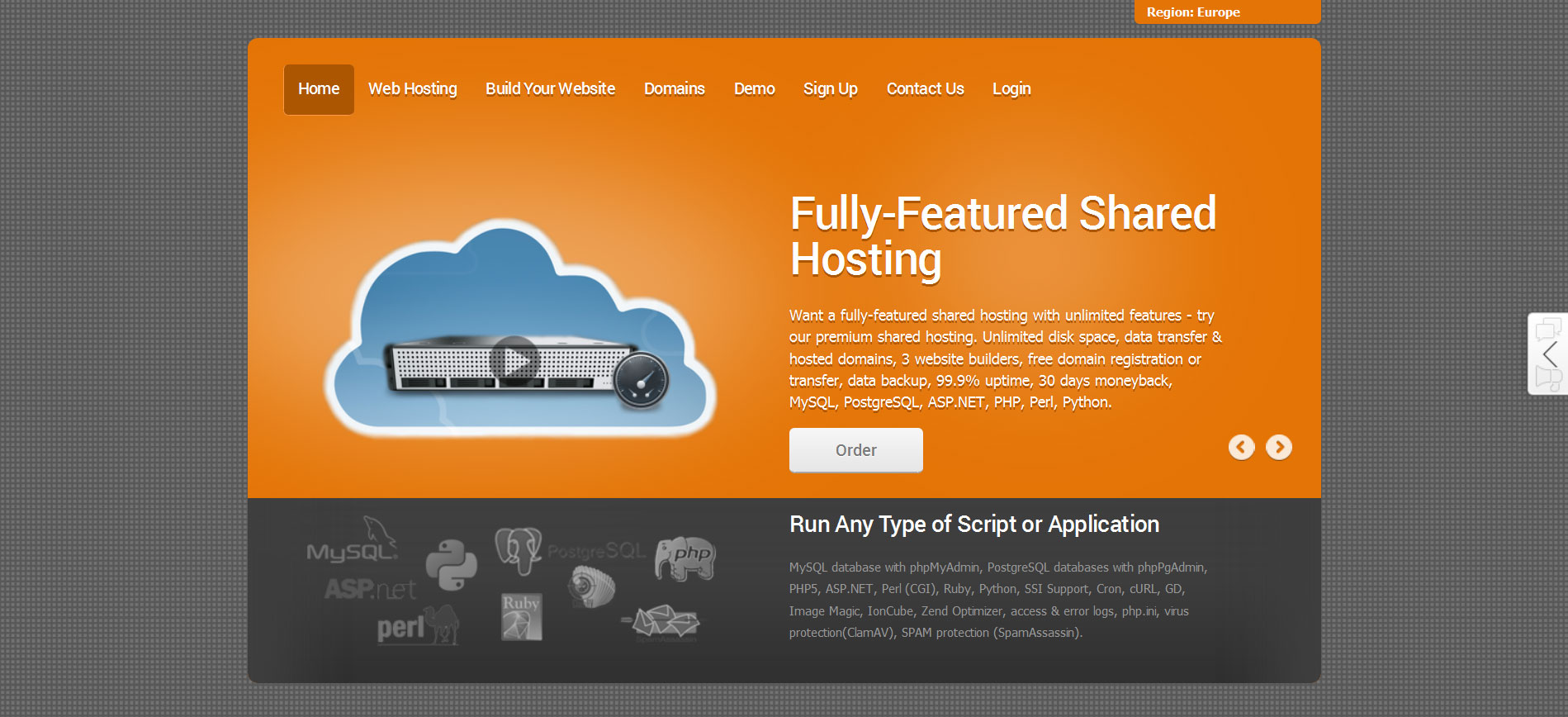 coral orange reseller hosting theme