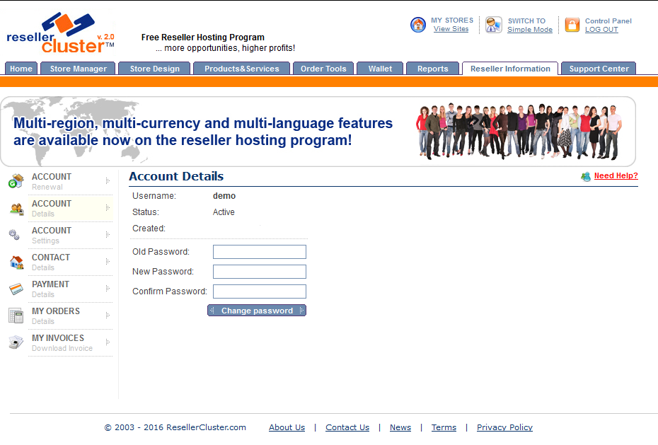 Screenshot of Reseller Account Details section