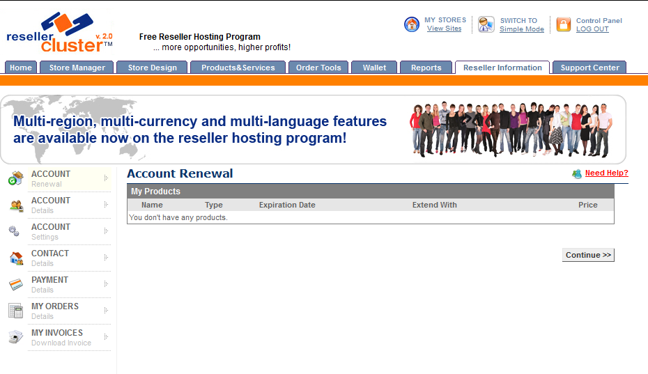 Screenshot of Reseller Account Renewal section