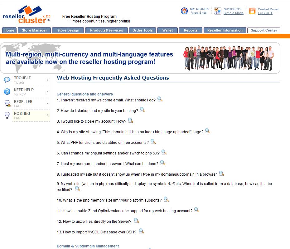 screenshot of reseller hosting faq section