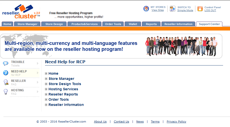 Screenshot of Need Help for Reseller Control Panel section