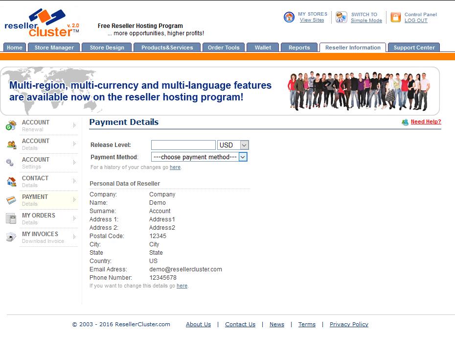 Screenshot of Reseller Payment details