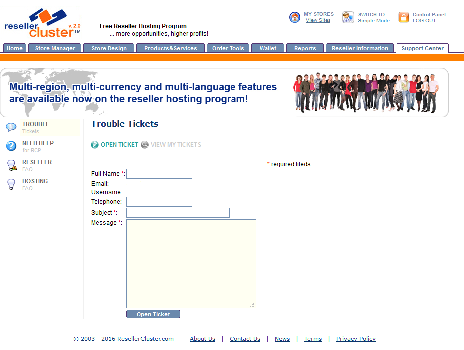 Screenshot of Reseller Trouble Tickets section